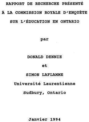 Rapport de recherche présenté à la commission royale d'enquête sur l'éducation en Ontario