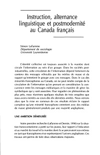 Instruction, alternance linguistique et postmodernité en Ontario français