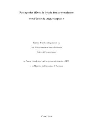 Passage des élèves de l'école franco-ontarienne vers l'école de langue anglaise
